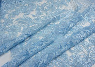 Blue Embroidery Floral Corded Lace Fabric With Sequin For Craft Make Gauze Dress