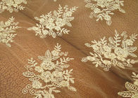 Gold Mesh Tulle Corded Lace Fabric with Floral Embroidery for Bridal Wedding Dress
