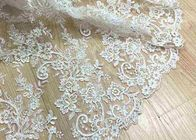 Delicate Ivory Corded Lace Fabric , Floral White Embroidered Tulle Fabric For Wedding Dress