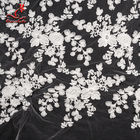 White 3d Embroidered Lace Fabric For Wedding Dress With Elastic Nylon Net