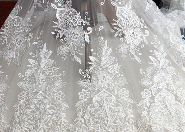 Embroidery Floral Corded Ivory Lace Fabric By The Yard For Luxury Wedding Dress