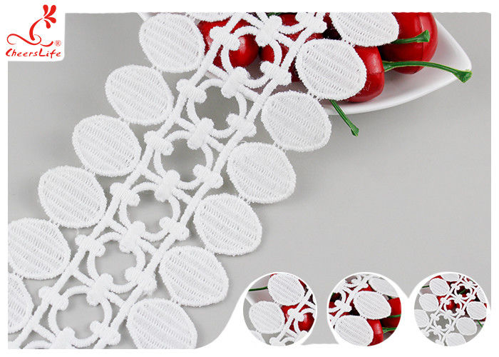 Polyester Embroidered Guipure Water Soluble Lace / Pom Pom Lace Edging