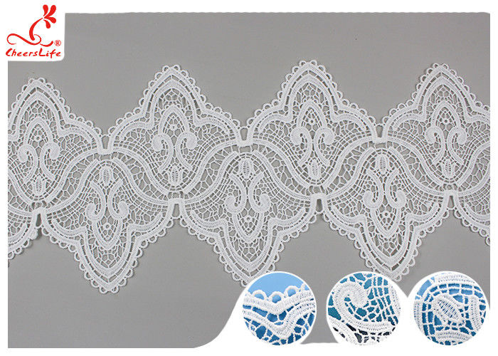 17CM Width White Guipure Embroidered Lace Trim With Azo Free Dyeing Poly Milky